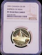 1988 Canada 100 Gold Empress Of India Ngc Pf70 Ultra Cameo 1/4 Oz. Lm222
