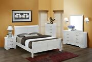 Traditional Classic 4pc Full Size Panel Bed Dresser Mirror Nightstand Set White