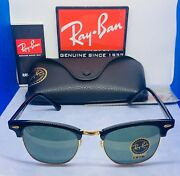 New Rayban Sunglasses Clubmaster Rb3016 W0365 51mm Black Gold