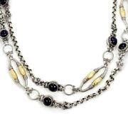 Konstantino Iolite Sterling And 18k Hammered Yellow Gold Fancy Long Necklace