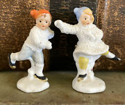 Antique Bisque German Snow Baby Boy And Girl Skater Pair