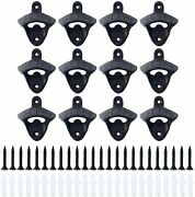 12x Black Cast Iron Wall Mount Bottle Openers Vintage Rustic Bar Screws Included