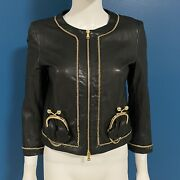 Moschino Vintage Black Leather Kiss Lock Coin Purse Jacket