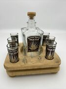Reserva Especial Tequila Mexico Bottle And 6 Shot Glasses And Wood Stand