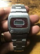 Rare Vintage Microma Solid State Lcd Watch Small Wrist Needs Battery