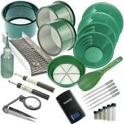 25pc Gold Panning Kit 14 12 10 8 Green Gold Pans Mini Sluice Box And More