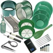 26pc Green Mini / Large Gold Classifier Screen And Gold Pan Panning Kit And More