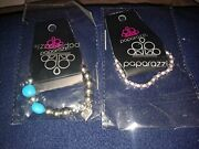 Lot Of 2 Paparazzi Bracelets - Pink And Clear Beads - Silver And Turquoise Color
