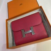 Hermes Constance Compact Wallet Purse Veau Epsom Rose Pink Used