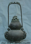 17 Antique Old China Purple Bronze Portable Dragon Beast Gourd Incense Burner