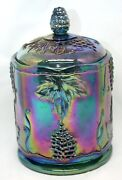 Indiana Carnival Glass Blue Grape Harvest Canister 7 Iridescent Cookie Jar Gl60