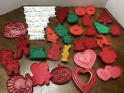 Plastic Cookie Cutters Stamps Red Green White Some Wilton All Occasion Holiday