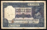 India 10 Rupees P-7 B 1917 King George V Rare Taylor Sign Indian Money Bank Note