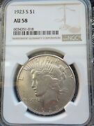 1923 S Peace Dollar Ngc Au58 Blast White Superb Luster Pq Coin For Grade