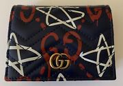Gg Star Leather Blue Wallet Card Case Discontinued