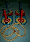 Vintage Pressman Toy Ring Toss Game Tin Litho Base With Wooden Pegs + Rope Rings