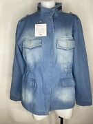 Nwt Hot Aimeite Fashion Jean Jacket Zips Up Distressed Large Size 30 New