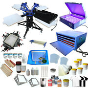 3 Color 4 Station Screen Printing Kit W/ Exposrue Screen Stretcher Flash Dryer
