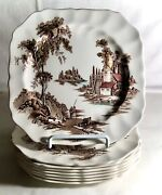 8 Johnson Brothers Brown Multicolor The Old Mill 7 3/4 Square Salad Plates