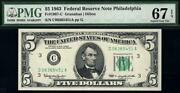 1963 5 Philadelphia Federal Reserve Note Frn Andbull Pmg 67 Epq Andbull 1967-c Top Pop 4/0