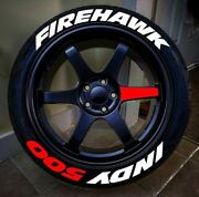 Permanent Tire Sticker Letter Firehawk Indy500 Red 16-22 For 4 Tires 1.25