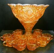 Antique Imperial 14 Piece Swirling Star Carnival Glass Punch Bowl Set Excell