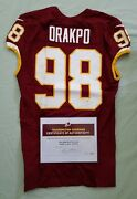 98 Brian Orakpo Of Redskins Nfl Game Used And Unwashed Jersey Vs. Ny Giants Wcoa