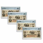 1862 100 T-41 Slaves Hoeing Cotton Au-58 Pmg 4 Con Notes - Sku230086