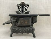 Crescent Miniature Cast Iron Toy Stove - Made In Usa - Missing Parts