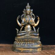 8.6 Old Temple Tibetan Buddhism Dynasty Bronze Gilt Four Arm Guanyin Statue