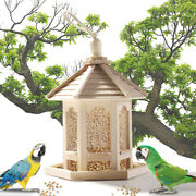 Hanging Bird Feeder Wild Bird Novelty Feeding House White Wooden Gazebo Garden /