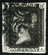 Gb Penny Black Qv Sg.3 1840 1d Plate 5 Ha Original State Extreme Wear Ored88