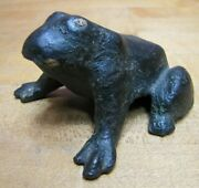 Antique Cast Iron Frog Paperweight Desk Art Childs Toy Statue Old Paint