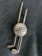 1920 Sterling Golf Clubs And Ball Sports Love Of Golf Brooch Pin Vintage 1920-1930