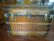 Antique Oak Slat Victorian Period Trunk/chest With Excelsior Lock And Key.