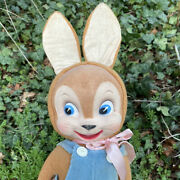 Vtg Old 40's 50's Plush Bunny Rabbit Character Doll Cloth Mask Face Rubber Hands