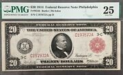1914 20 Federal Reserve Note Red Seal Pmg Vf25 Exceedingly Rare Free Shipping