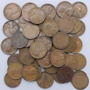 1924 Lincoln Wheat Cent Roll 50 Circulated Pennies Us Coins