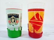 Pair Of Kentucky Derby Makers Mark Wax Dipped Mint Julep Glasses Green And Red