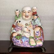 Chinese Famille Rose Enamels Porcelain Hotei Happy Laughing Buddha Statue Figure