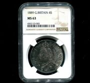 1889 Double Florin With 2nd I In Victoria A Inverted 1, Ngc Ms63 Choice Toned