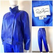 Vtg 80and039s Ruth Wagner Glam Rock 100 Genuine Leather Blue Moto Jacket + Pants M/6