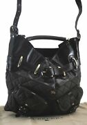 Auth Burberrys Quilting 2way Shoulder Hand Bag Nylon Leather Khaki Brown C2004