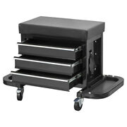 Rolling Seat Creeper Tool Chest Storage / Tool Box With 3 Drawers And Wheels