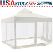 Replacement Canopy Top Cover With Side Netting For 10'x10' 2-tier Gazebo Frames