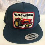 New Allis-chalmers Red Farm Tractor Snapback Mesh Vtg Patch Navy Blue Hat Cap