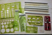 Large Lot Architect / Engineer Drafting Tools Scale Rulers Compass Templates