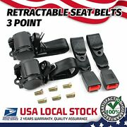 3 Point Safety Seat Belt Straps Heavy Duty Car Truck Adjustable Retractable X2