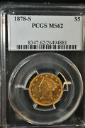 1878-s - 5 - Liberty Head - Gold Coin - Pcgs Ms 62 - 8347