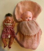 2 Vintage Celluloid Baby Dolls - One Jointed 3, One Frozen 3 1/2